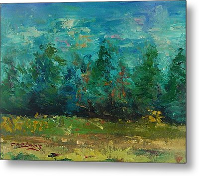 Metal Print featuring the painting Plein Air With Palette Knives by Carol Berning