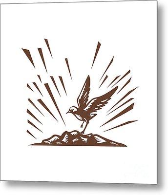 Plover Landing Island Woodcut Metal Print by Aloysius Patrimonio