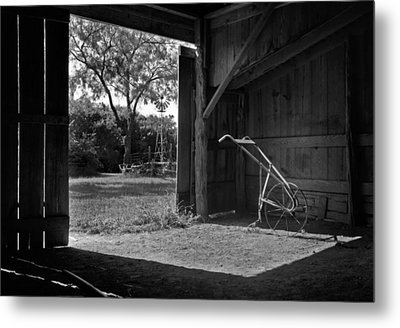 Plow Is In The Barn Metal Print by David and Carol Kelly