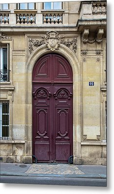 Plum Door - Paris, France Metal Print by Melanie Alexandra Price