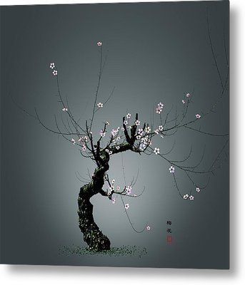 Plum Flower 0204 Metal Print by GuoJun Pan