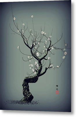 Plum Flower Metal Print by GuoJun Pan