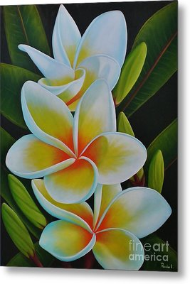 Metal Print featuring the painting Plumeria by Paula L