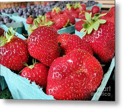Plump Strawberries Metal Print by Janice Drew