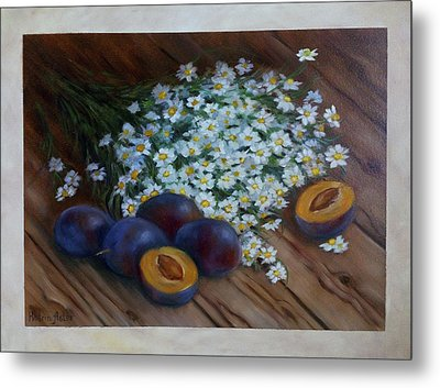 Plums And Daisies Metal Print