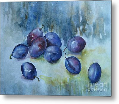 Metal Print featuring the painting Plums by Elena Oleniuc