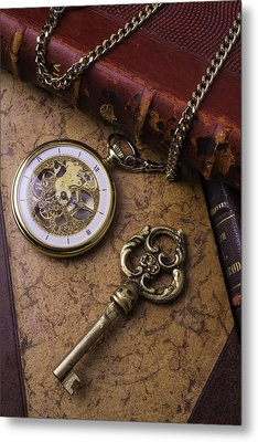 Pocket Watch And Old Key Metal Print by Garry Gay