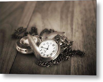 Pocket Watches Times Three Metal Print by Tom Mc Nemar