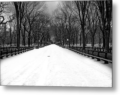 Poet's Walk In Snow Metal Print