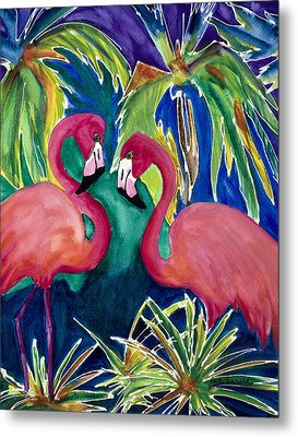 Poin And Settia Dine At The Palm Metal Print by Dale Bernard