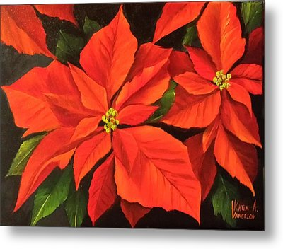 Poinsettia  Metal Print by Katia Aho