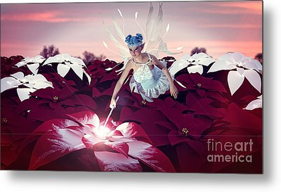 Metal Print featuring the digital art Poinsettia Snow Fairy by Methune Hively