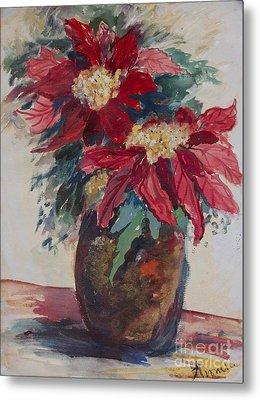 Poinsettias In A Brown Vase Metal Print