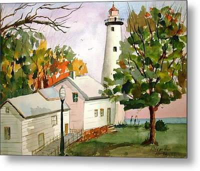 Point Aux Barques Lighthouse - Port Hope Mi Metal Print by Larry Hamilton