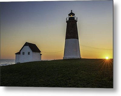 Point Judith Light At Sunset Metal Print by Thomas Schoeller