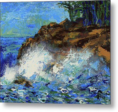 Metal Print featuring the painting Point Lobos Crashing Waves by Walter Fahmy