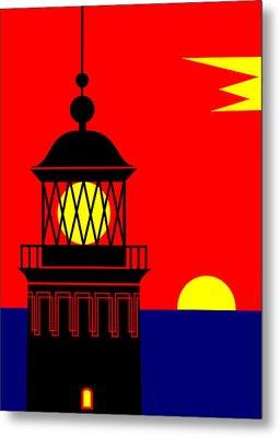 Point Queen Charlotte Light House Metal Print by Asbjorn Lonvig