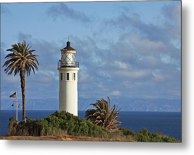 Point Vicente Lighthouse On The Cliffs Of Palos Verdes California Metal Print
