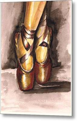 Metal Print featuring the painting Pointe En Red by Sarah Farren
