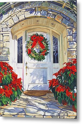 Pointsettia House Metal Print by David Lloyd Glover