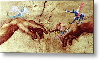 Metal Print featuring the digital art Pokeangelo Sistine Chapel by Greg Sharpe