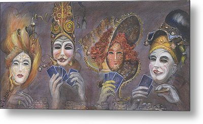 Metal Print featuring the painting Poker Game Faces by Nik Helbig