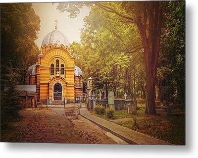 Pokrov Cemetery And Orthodox Church Riga Latvia  Metal Print