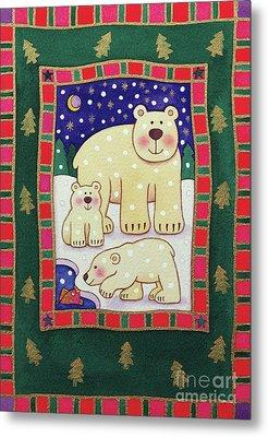 Polar Bear And Cubs Metal Print by Cathy Baxter