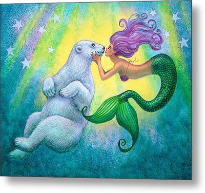 Polar Bear Kiss Metal Print
