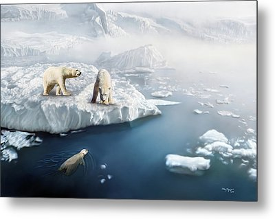 Metal Print featuring the digital art Polar Bears by Thanh Thuy Nguyen