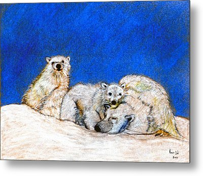 Polar Bears With Love Metal Print by Marie Loh