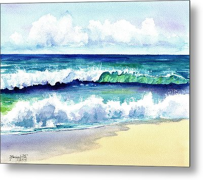 Metal Print featuring the painting Polhale Waves 3 by Marionette Taboniar