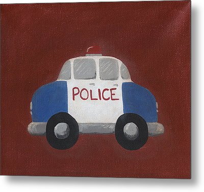 Police Car Nursery Art Metal Print by Katie Carlsruh