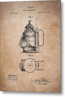 Police Lantern Patent Metal Print by Dan Sproul