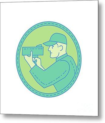 Policeman Speed Radar Gun Circle Mono Line Metal Print by Aloysius Patrimonio