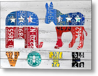 Political Party Election Vote Republican Vs Democrat Recycled Vintage Patriotic License Plate Art Metal Print by Design Turnpike