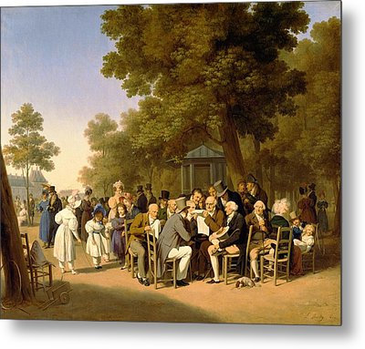Politicians In The Tuileries Gardens Metal Print by Louis Leopold Boilly
