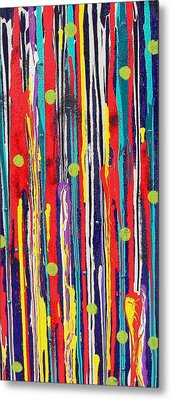 Metal Print featuring the painting Polka Dot Pour by Carolyn Repka