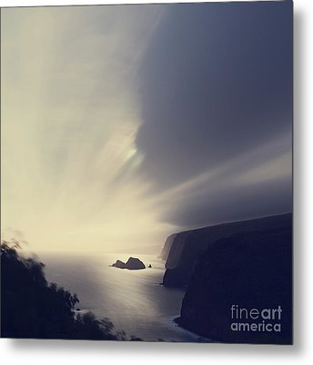 Pololu Valley Moonrise - Hipster Photo Square Metal Print by Charmian Vistaunet
