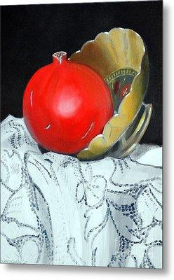 Pomegranate And Pot Metal Print by Kostas Koutsoukanidis