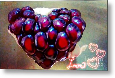 Metal Print featuring the digital art Pomegranate Heart by Genevieve Esson