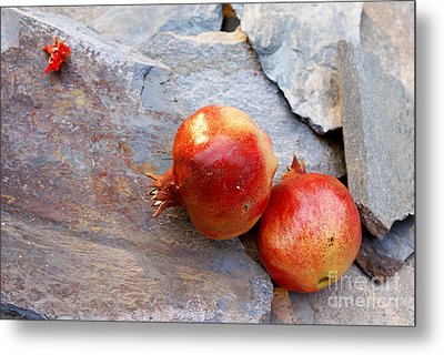 Metal Print featuring the photograph Pomegranates On Stone by Cindy Garber Iverson
