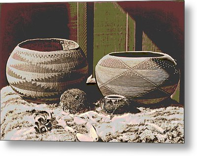 Pomo Baskets And Magnesite Beads Metal Print by Padre Art