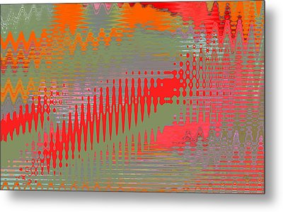 Metal Print featuring the digital art Pond Abstract - Summer Colors by Ben and Raisa Gertsberg