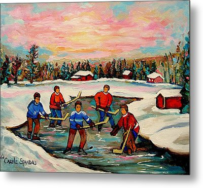Pond Hockey Countryscene Metal Print by Carole Spandau