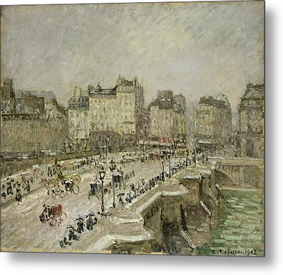 Pont Neuf Snow Effect Metal Print by Camille Pissarro