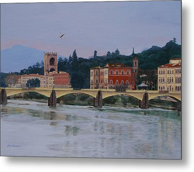 Pont Vecchio Landscape Metal Print by Lynne Reichhart