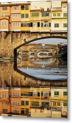 Ponte Vecchio Crossing The River A Metal Print by Jeremy Woodhouse