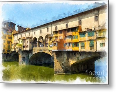 Ponte Vecchio Florence Italy Metal Print by Edward Fielding