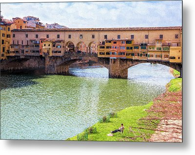 Metal Print featuring the photograph Ponte Vecchio Florence Italy II Painterly by Joan Carroll